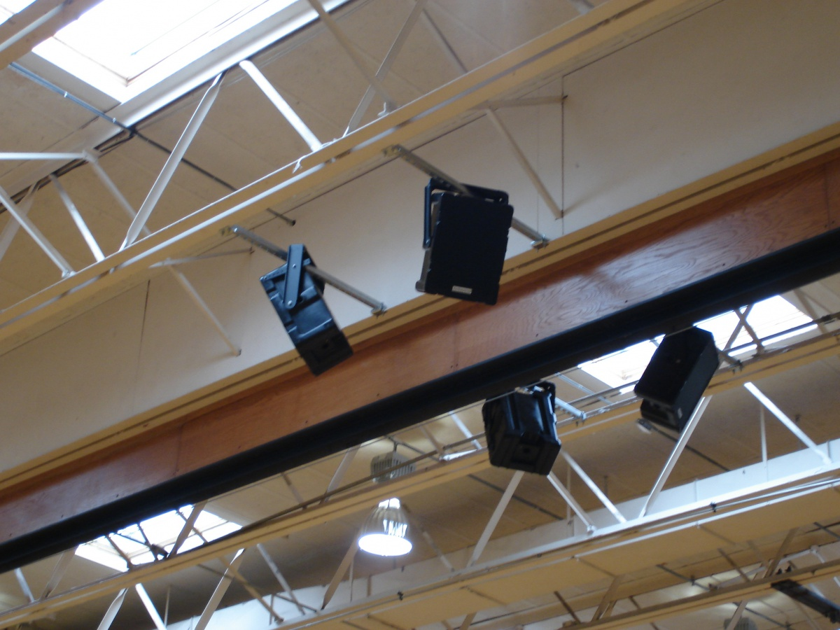 Technomad Noho loudspeakers provide clear audio and wide coverage for basketball and other indoor sports and events