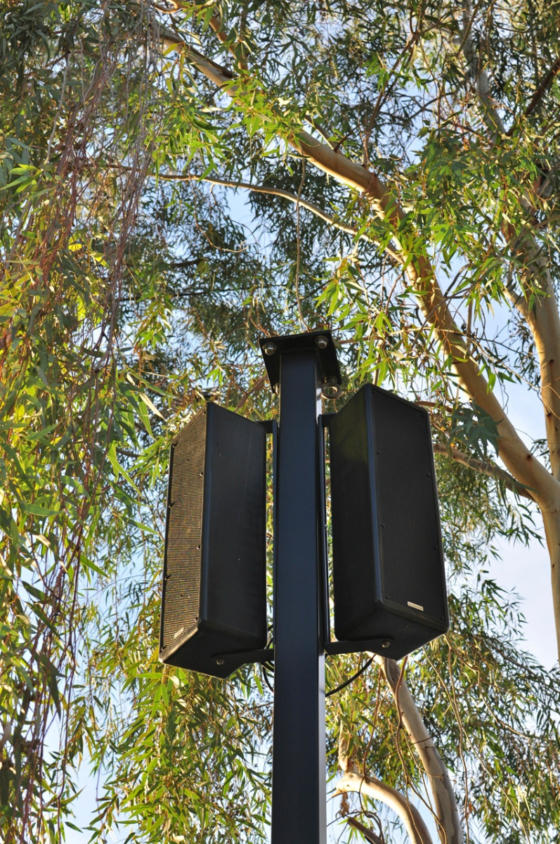 Closeup of Paris loudspeakers atop a custom-built pole at Phoenix Zoo