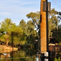 A series of custom-designed light poles surrounds the lagoon in the center of the zoo, each equipped with Technomad advanced audio systems