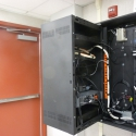 Easy access to the rear of the Turnkey PA System rack allows for simple maintenance